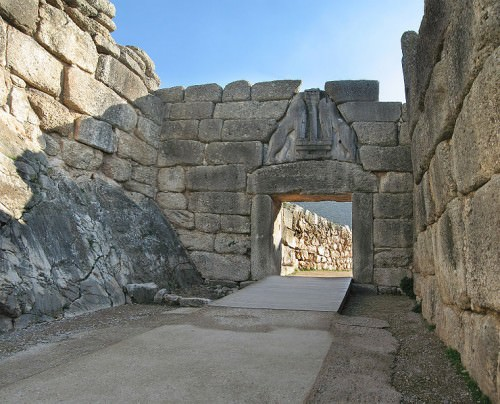 Lion's Gate in the ruins of Mycenae.