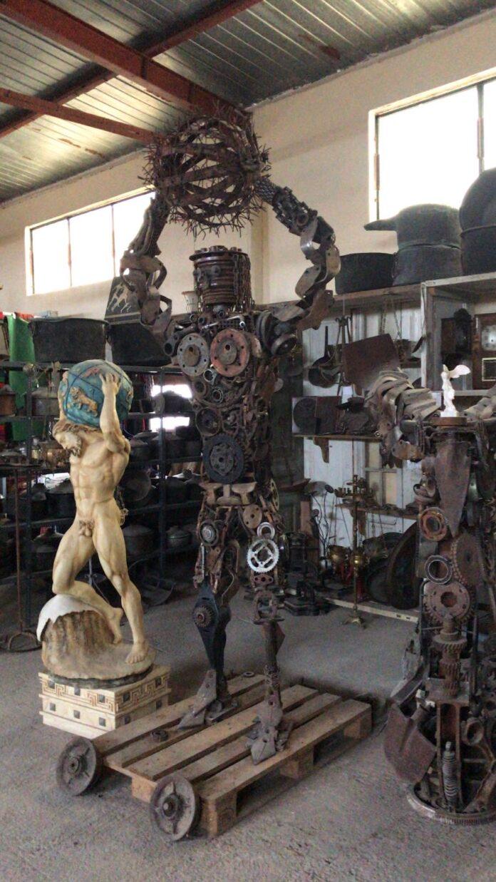Atlas row material statue