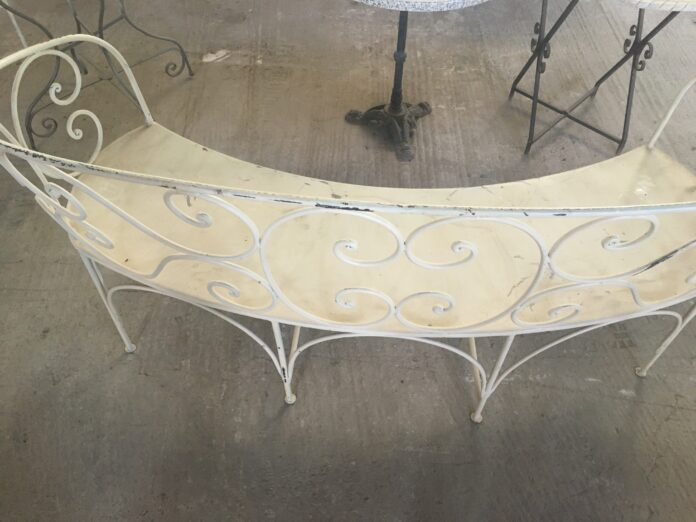 oval iron bench