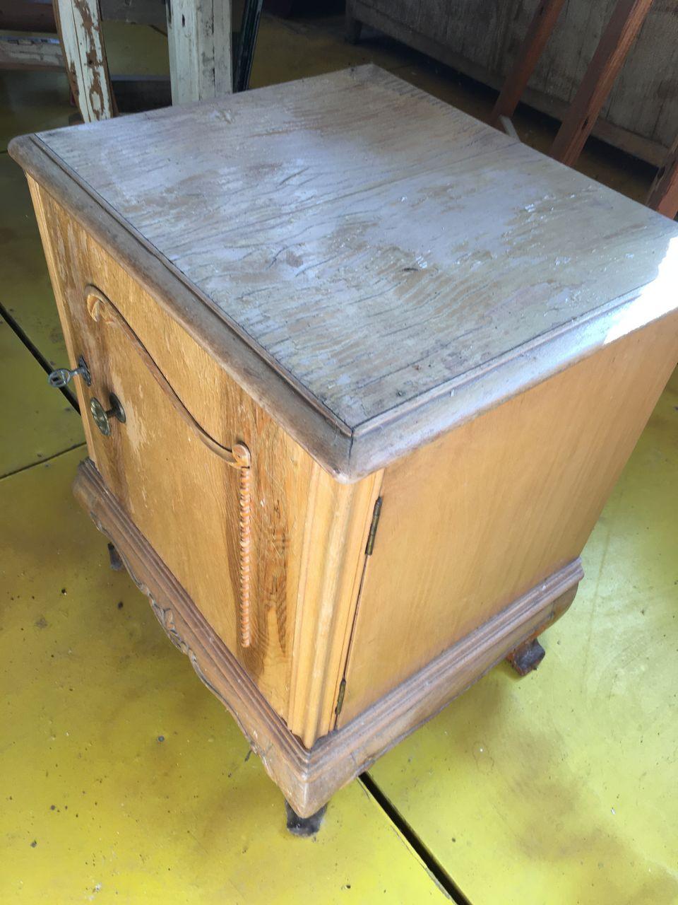 Old greek wooden bedside table