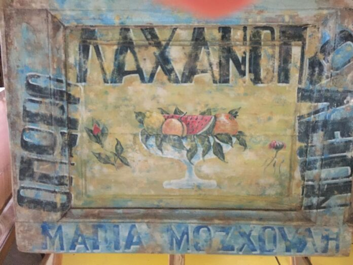 Painting, label on a piece of old wood, greek doors panel