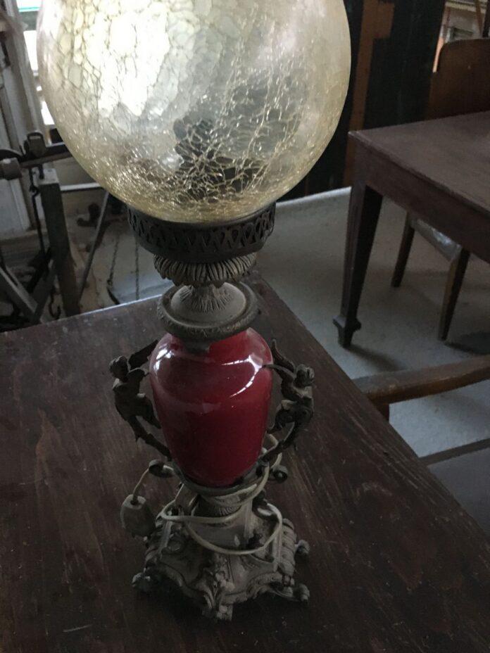 Greek old lamp, bronze and porcelain bedside table lamp