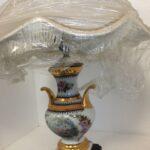 Limoges France, old french porcelain lamp, gold 22k