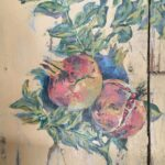Pomegranate, painting on a piece of old wood, old greek window