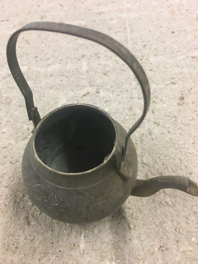 Tea pot old greek bronze utensil relief vintage