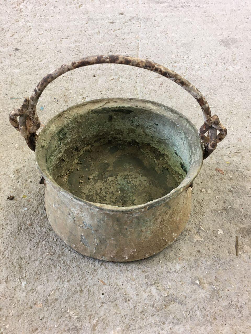 Cauldron, old greek copper utensil, vintage decoration