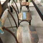 Chairs, arm chairs metal and greek old wood