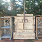 wheeled servery, old Greek wooden machine, authentic tobacco leaf press, since 1910,