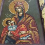 Virgin Mary, icon byzantine civilazation hand painted on old wood with leaf of gold of 24K,